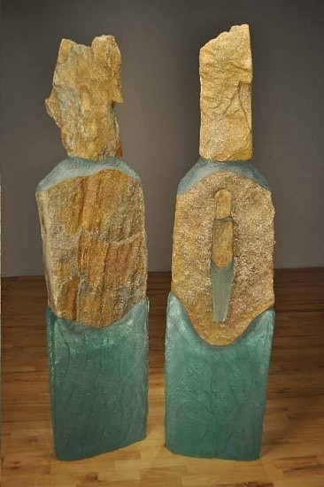 Thomas Scoon, Between Us: Figure 1 and Figure 2 2011, Cast Glass and Granite Sculpture