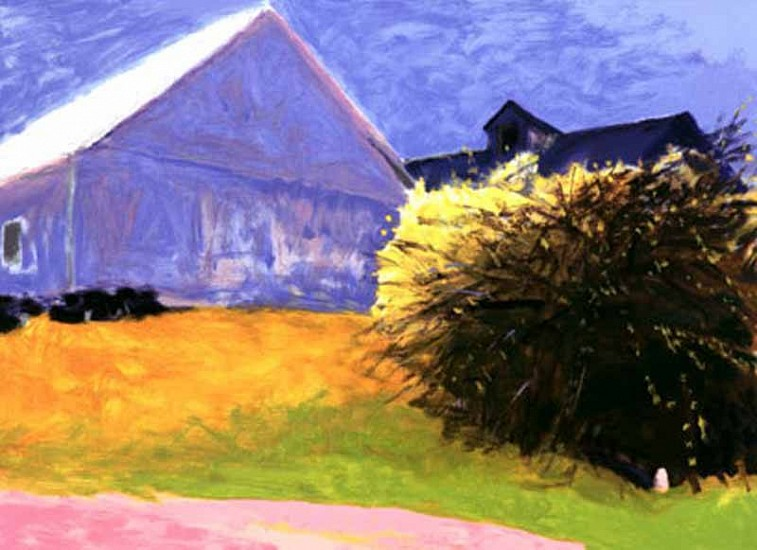 Wolf Kahn, Barn and Forsythia III 2003, Serigraph on Paper