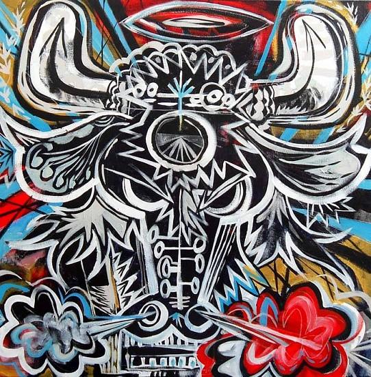 Mark T. Smith, Bull Head Last Straw 2010, Mixed Media on Canvas