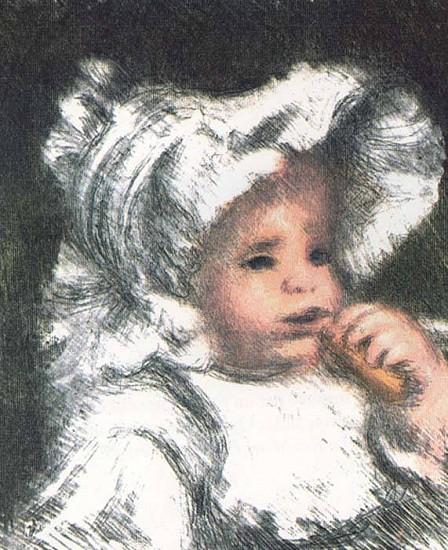 Pierre Auguste Renoir, L'Enfant au Buiscuit 1898, Color Lithograph