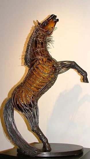 David Bennett, Rearing Horse in Amber 2006, Glass Sculpture