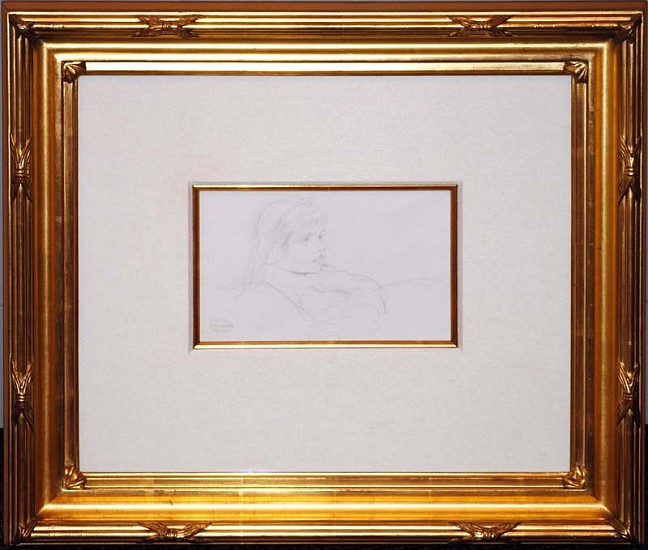 Mary Cassatt, Tete de Fillette (Head of a Girl) late 1800s, Original Pencil Drawing