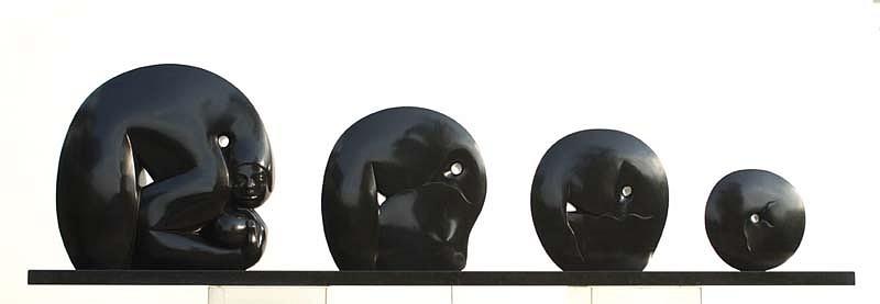 Jorge Jiménez Deredia, Genesi Canto Alla Vida Bronze Sculpture with Black Granite Base