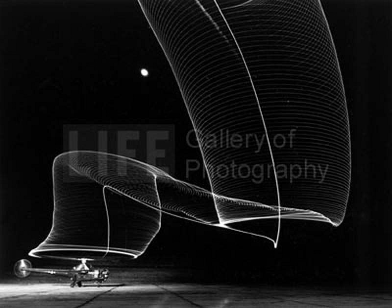 Andreas Feininger ,   Navy Helicopter or Pattern Made by Helicopter Wing Lights  ,  1949     Silver Gelatin Print ,  16 x 20 inches
