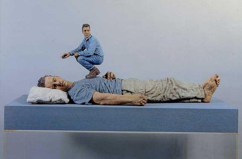 Sean Henry, Lying Man 1999, Bronze, Oil Paint, Perspex & Wood
