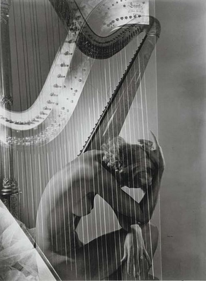 Horst P. Horst, Lisa Fonssagrives-Penn with Harp 1939, Silver Gelatin Print