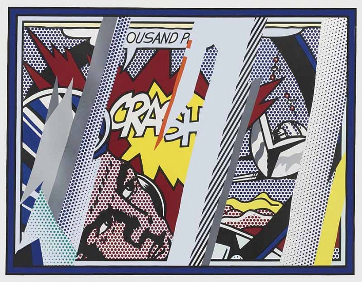 Roy Lichtenstein, Reflections on Crash 1990, Lithograph, Screenprint, Relief and Metalized PVC Collage