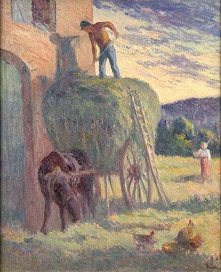 Maximilien Luce, La Charrette de Foin Original Oil on Canvas