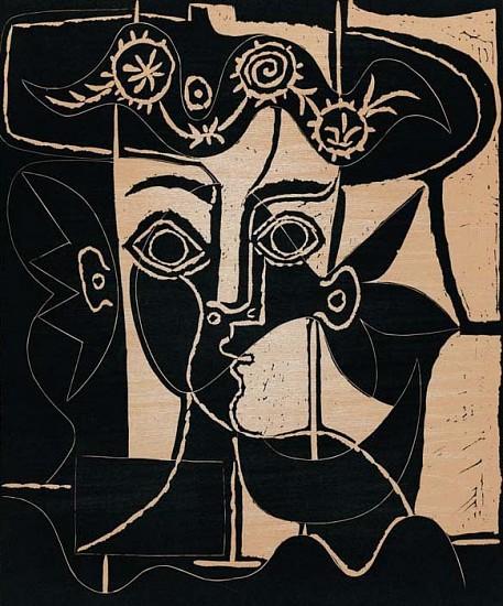 Pablo Picasso, Grande Tête de Femme au Chapeau Orné 1962, Linoleum Cut Printed in Colors