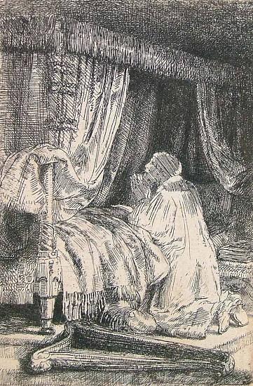 Rembrandt van Rijn, David in Prayer 1652, Etching