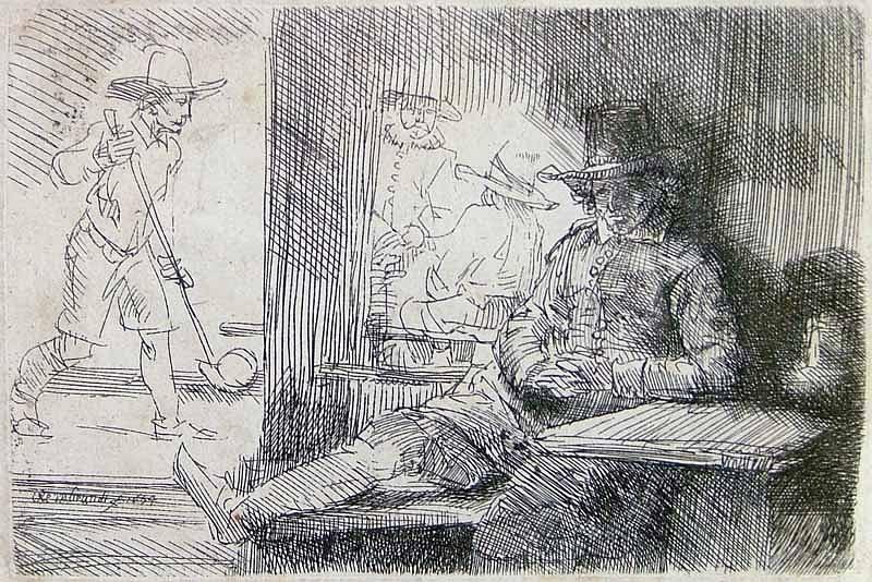 Rembrandt van Rijn, The Golf Player 1654, Etching