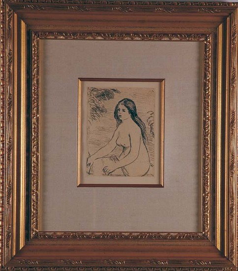 Pierre Auguste Renoir, Femme Nue Assise ca. 1906, Soft-Ground Etching in Brownish-Black Ink