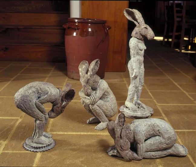 Sophie Ryder, Bending, Crouching, Kneeling, Standing Figures 2003, Bronze Sculpture