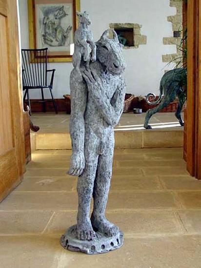Sophie Ryder, Minotaur with Dog on Shoulder 2002, Bronze Sculpture