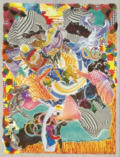 Frank Stella, Juam 1997, Color Relief, Etching, Aquatint, Lithograph, Screenprint, Woodcut, Engraving on Two Sheets of TGL Handmade, Hand-Colored Paper