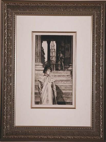 James Jacques Tissot, Le Portique de la Galerie Nationale a Londres ca. 1887, Etching and Drypoint
