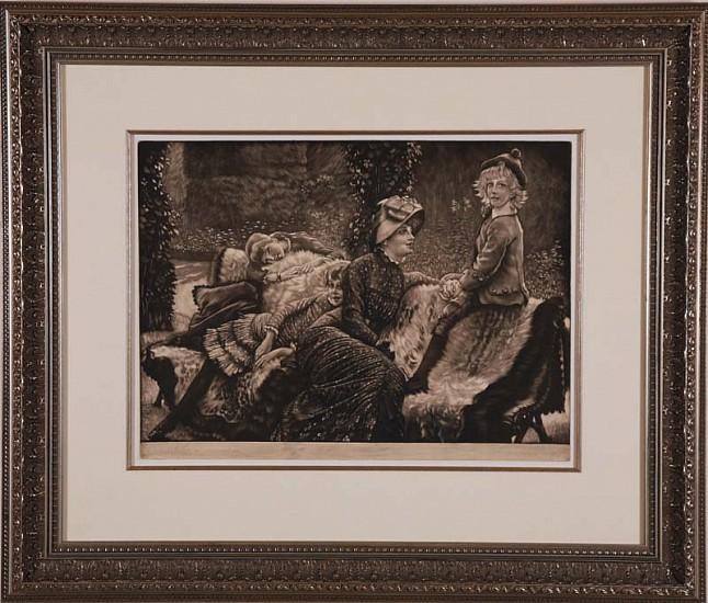 James Jacques Tissot, Le Banc de Jardin ca. 1883, Mezzotint Printed on Chine Applique