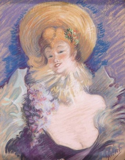 Jules Chéret, Young Girl With a Straw Bowler 1895, Pastel on Brown Paper