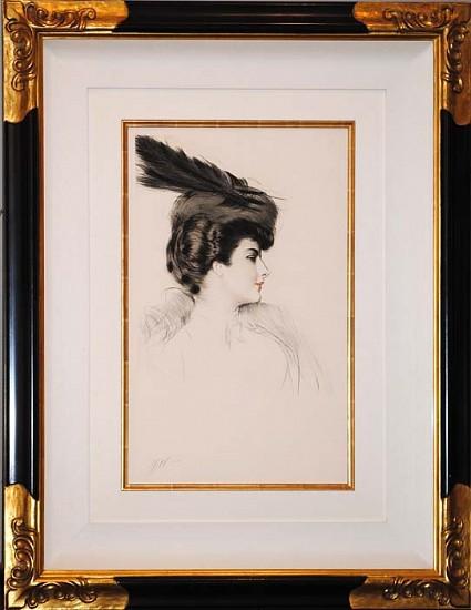 Paul César Helleu, La Dame a la Toque ca. 1906, Drypoint in Color