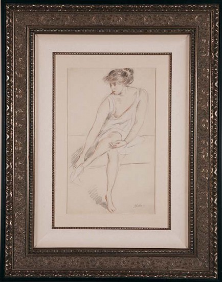 Paul César Helleu, Jeune Femme Assise (Young Woman Seated) ca. 1910, Original Drawing in Sanguine, White and Black Chalks on Cream Wove Paper
