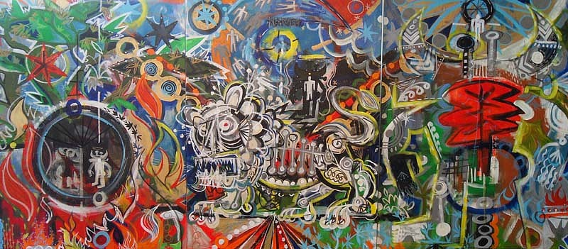Mark T. Smith, Inferno (Triptych) 2010, Mixed Media on Canvas