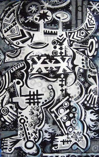 Mark T. Smith, Bull XXX, Black & White 2008, Mixed Media on Canvas