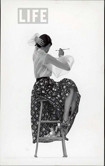 Gjon Mili, Model Dorian Leigh Wearing White Organdy Shirt with Full Print Skirt by Ceil Chapman ca. 1950, Vintage Silver Gelatin Print (Set of 3)