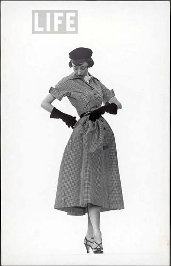 Gjon Mili, Model Dorian Leigh Wearing Pin-Point Taffeta Dress with Full Skirt by Mollie Parnis. Long Black Gloves ca. 1950, Vintage Silver Gelatin Print (Set of 3)