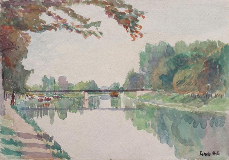Ludovic-Rodo Pissarro, Bord de Riviere ca. 1900, Original Watercolor