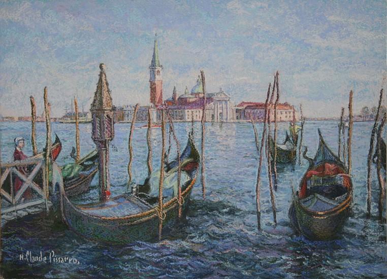H. Claude Pissarro, Isola san Giogio (Venise) 2007, Original Pastel