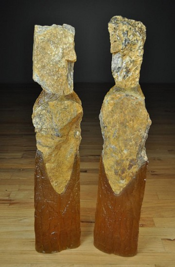 Thomas Scoon, Golden Companions #1 and #2 2013, Cast Glass and Granite Sculpture