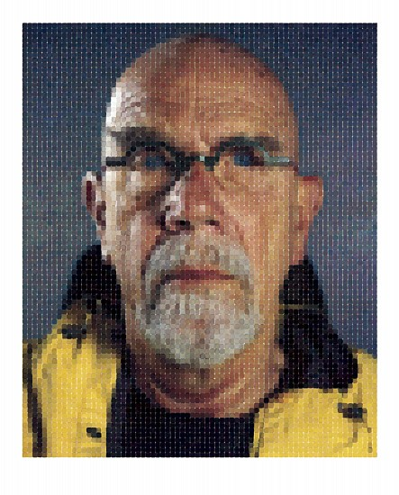Chuck Close, Self-Portrait (Yellow Raincoat) 2013, Archival Watercolor Pigment Print on Hahnemühle Rag Paper