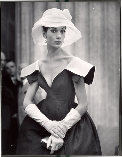 Nina Leen, Lady with White Hat and Gloves 1959, Vintage Silver Gelatin Print