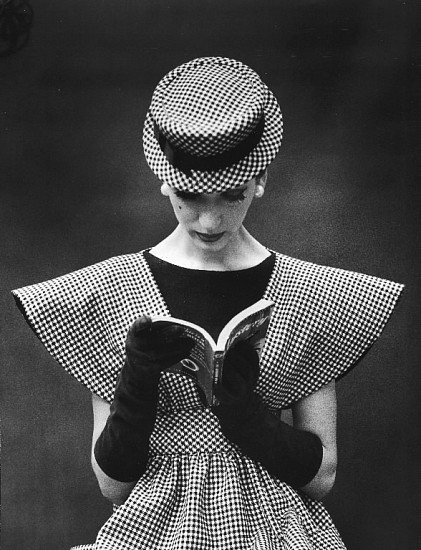 Nina Leen, Model Wearing Checked Wide Shoulder Top with Matching Hat Reading Book Looking Down 1959, Vintage Silver Gelatin Print