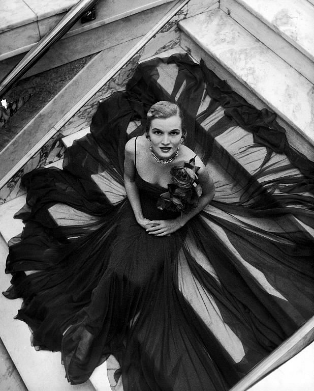 Nina Leen ,   Model Wearing Full Chiffon Skirt by Traina-Norell  ,  1949     Vintage Silver Gelatin Print ,  10 3/4 x 13 1/2 inches