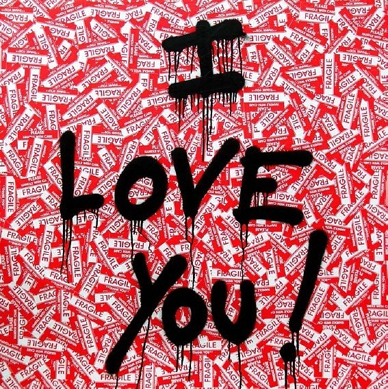 Mr. Brainwash ,   I Love You!  ,  2016     Spray Paint and Stickers on Plywood ,  36 x 36 inches
