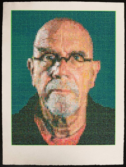 Chuck Close, Self-Portrait 2016, Multiples made using felt stamps to hand apply oil paints on a silkscreen ground