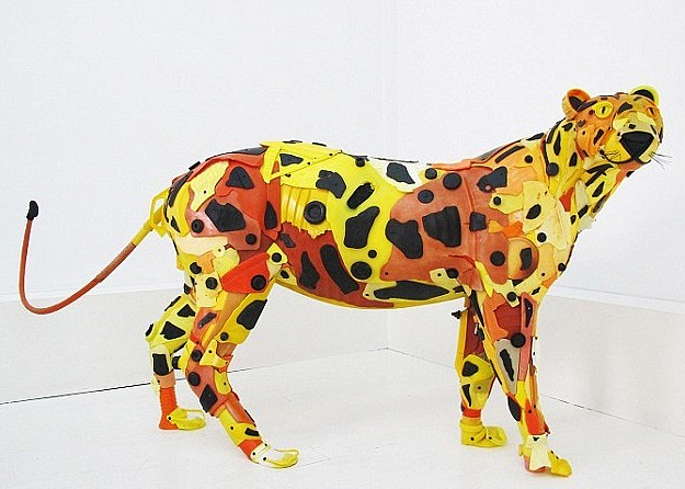 Gilles Cenazandotti ,   Leopard  ,  2016     32 x 16 x 62 inches     Sculpture with Objects Lost and Found from the Sea