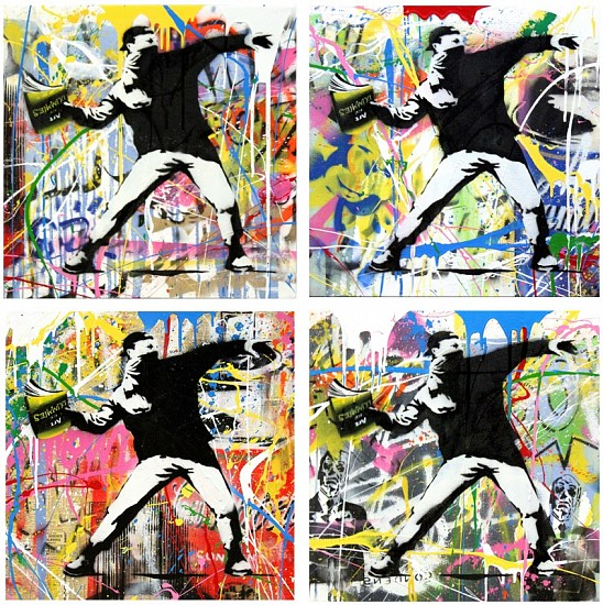 Mr. Brainwash, Banksy Thrower Installation 2015, Stencil and Mixed Media on Canvas