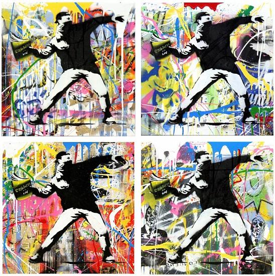 Mr. Brainwash, Banksy Thrower Installation 2015, Stencil and Mixed Media on Canvas