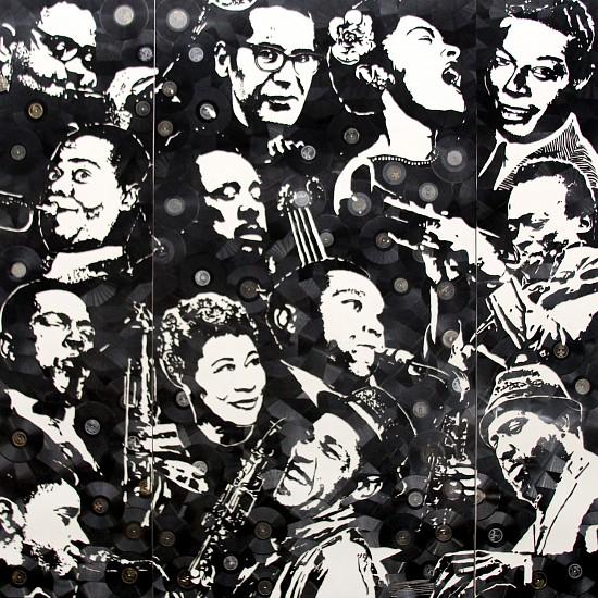 Mr. Brainwash, Jazz Legends 2016, Broken Vinyl Records on Canvas Triptych