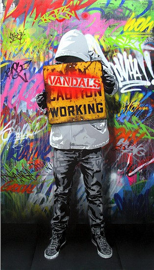 Hijack, Vandals Working 2017, Stencil and Mixed Media on Canvas