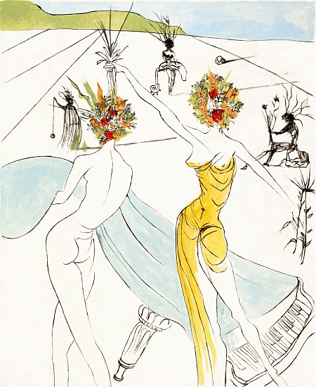 Salvador Dalí, The Hippies Suite: Flower Woman with Soft Piano 1969