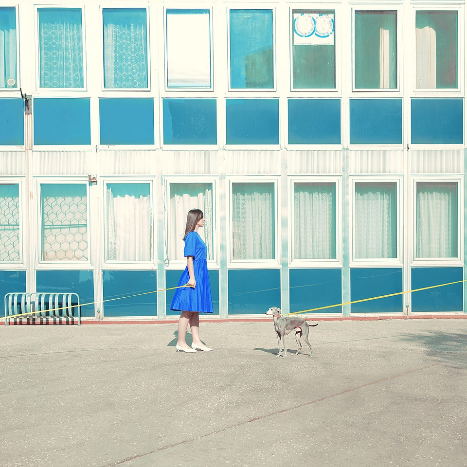 Maria Svarbova ,   Lady with Dog  ,  2017     Archival Pigment Print ,  19.7 x 19.7 inches