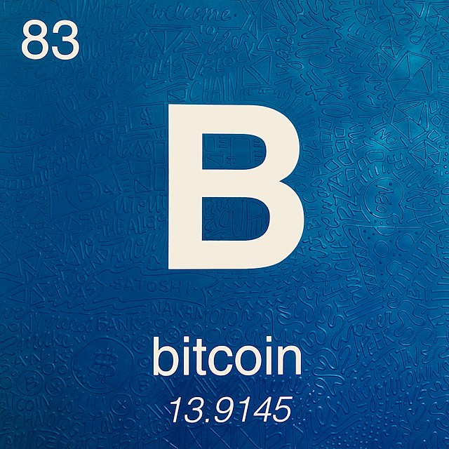 Cayla Birk. ,   Periodic Table of Relevance Series: BITCOIN  ,  2018     36 x 36 inches